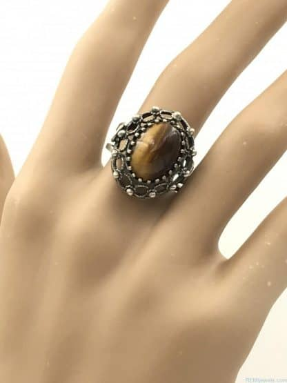 Sterling Silver Brown Tigers Eye Cabochon Gemstone Ring Size 7 Adjustable Signed 925 Israel