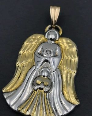 Vintage Gorham Silver Diamond Guardian Angel Pendant 'Ever this day…'