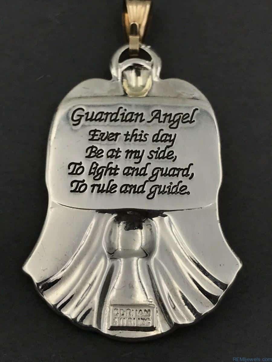 Vintage Gorham Silver Diamond Guardian Angel Pendant Vintage