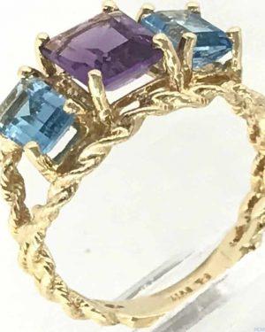 Emerald-Cut Amethyst Topaz Three Stone Rope Twist Ring 14K Yellow Gold