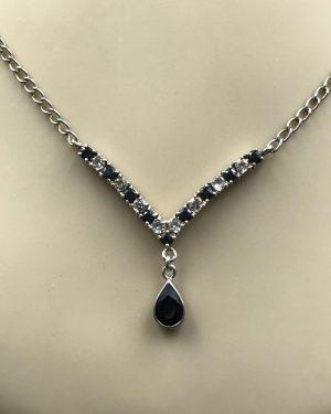 Black White Sapphire Gemstone Sterling Silver Necklace 16″ – 925