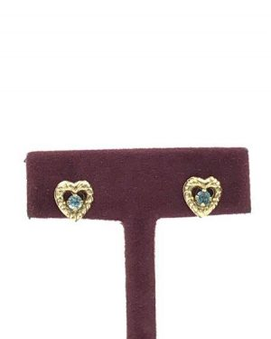 10K Yellow Gold JCM Jacmel Blue Gemstone Heart Earrings