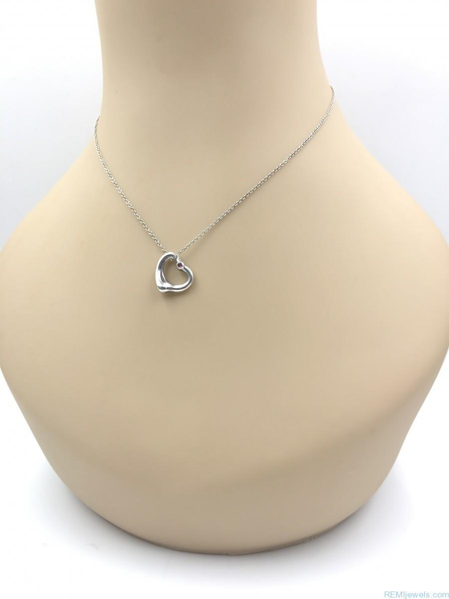 a519042b7 TIFFANY & CO Peretti Open Heart Pink Sapphire 925 Charm Necklace