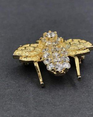 Vintage Sterling Silver Rhinestone Bumblebee Bug Insect Vermeil PIN Brooch – 925