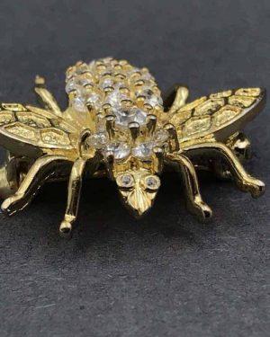 Vintage Sterling Silver Rhinestone Bumblebee Bee Pin Brooch