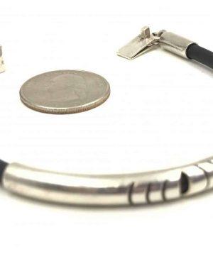 Sterling Silver 4mm Black Leather Cord Bracelet – Stamped 925