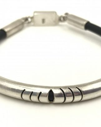 Sterling Silver 4mm Black Leather Cord Bracelet