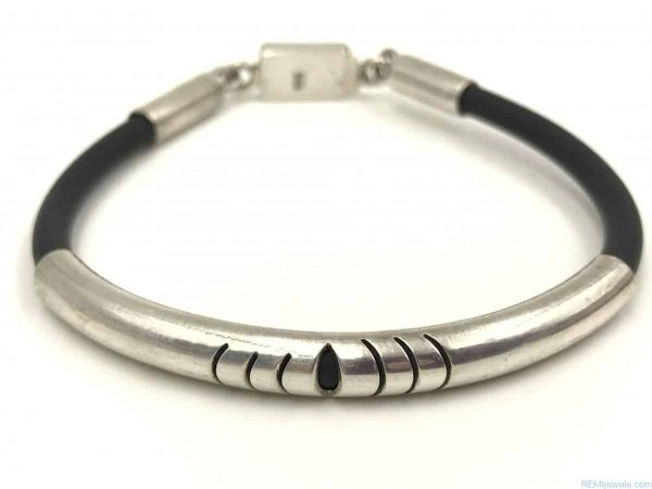 Sterling Silver 4mm Black Leather Cord Bracelet