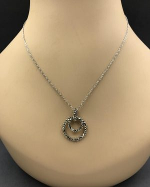 Sterling Silver Marcasite Double Round Hoop Pendant Necklace – 925 Italy