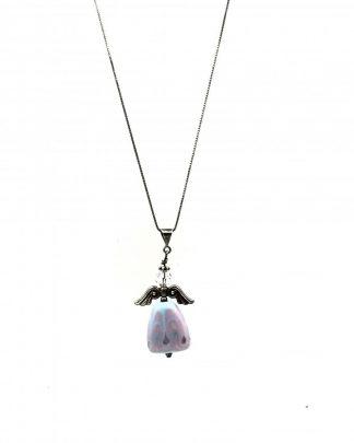 Vintage Sterling Silver Rhinestone Angel Blue Pink Pendant Necklace