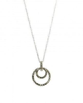 Sterling Silver Marcasite Double Round Hoop Pendant Necklace