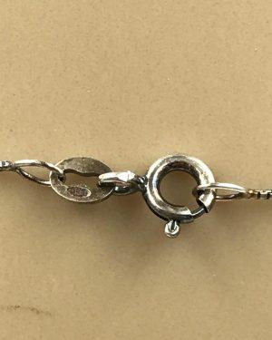 Vintage Sterling Silver Rhinestone Angel Blue Pink Pendant Necklace – 925