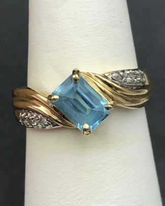 Blue Topaz Diamond Ring 10K Yellow Gold Women's Vintage