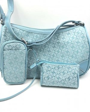 Strada Shoulder Handbag Purse Satchel Blue – Matching Cell Phone – Change Purse
