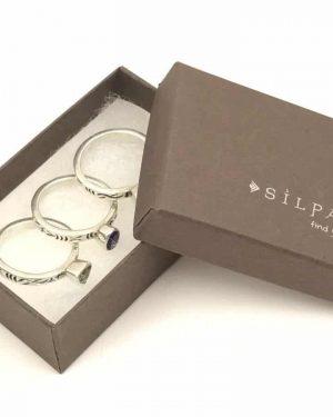 Silpada Amethyst Peridot Garnet 925 Sterling Silver Stack Ring Set Size 7 R0455 Designer Ring