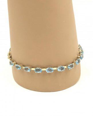 Vintage Clyde Duneier Blue Topaz 10K Yellow Gold Bracelet