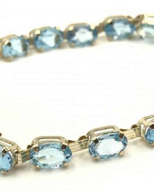 Vintage Clyde Duneier Blue Topaz 10K Yellow Gold Bracelet 7″