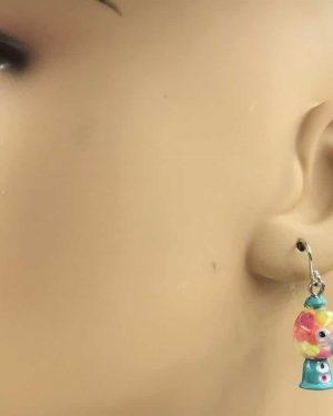 Colorful Gumball Candy Design Bubble Dangle Children's Earrings – Kid's, Girls, Junior, Bubblegum Machine
