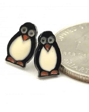 Penguin Bird Design Black White Post Earrings – Cute – Petite