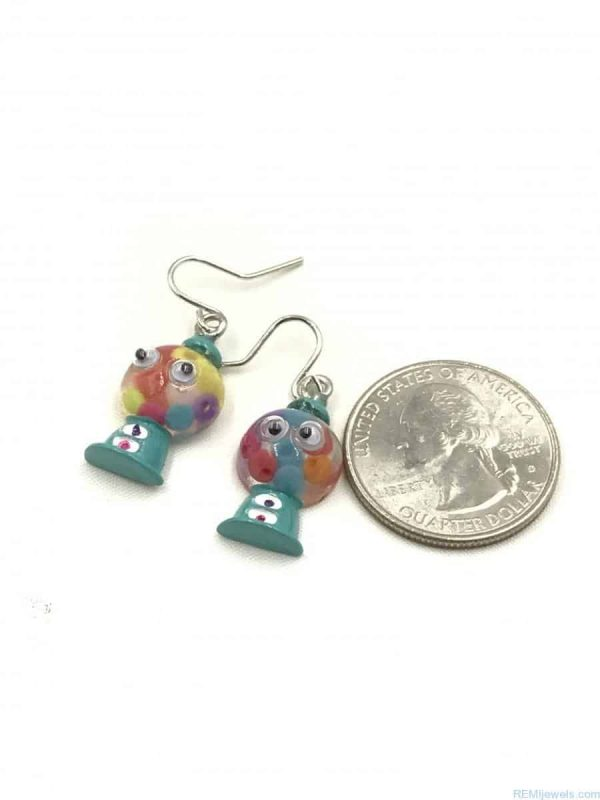 Colorful Gumball Candy Design Bubble Dangle Children's Earrings