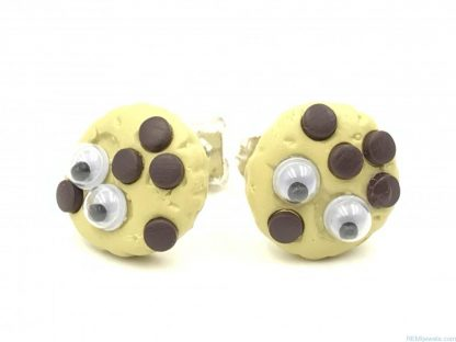Cookie Monster Chocolate Chip Design Tan Brown Post Earrings