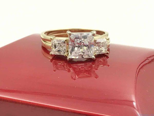Yellow Gold 14k Three Stone Engagement Ring Wedding Band