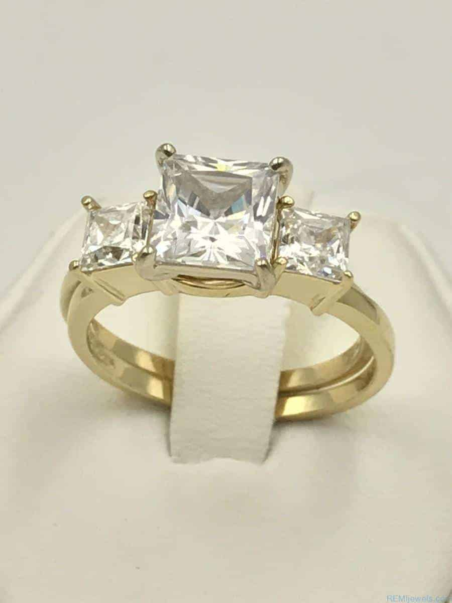 yellow gold 14k three stone engagement ring wedding band. Black Bedroom Furniture Sets. Home Design Ideas