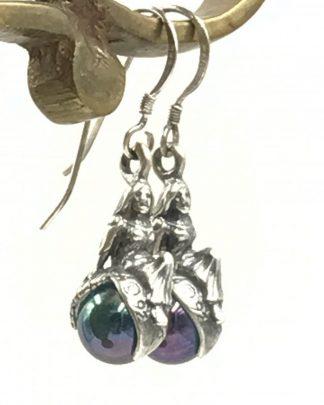 Vintage Enchanted Princess Magic Marble Sterling Silver Dangle Earrings
