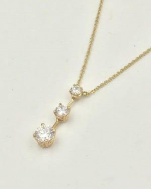 14K Yellow Gold Three Stone Clear Charm Designer Necklace Past, Present & Future