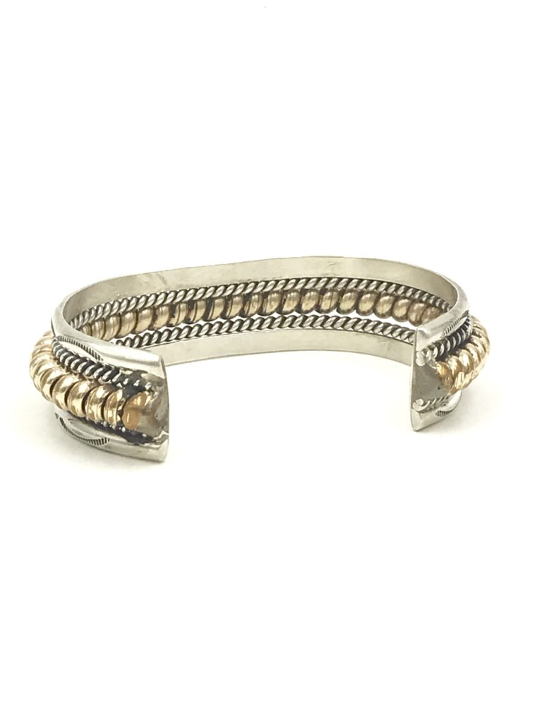 Navajo Sterling 12k Gold Filled Cable Rope Cuff Bracelet