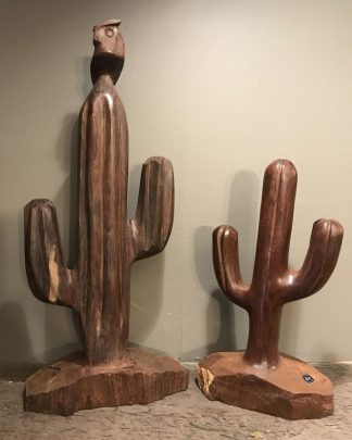 VINTAGE Picacho Ironwood HAND Carved OWL - Pair CACTUS Desert Succulents -