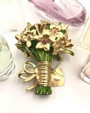 Stunning ESTĒE LAUDER Solid Perfume Compact 2009 Beautiful Romantic Bouquet Full