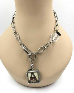 Jewel Kade Charm Necklace Eiffel Tower Fleur De Lis 18″ Clear Rhinestones