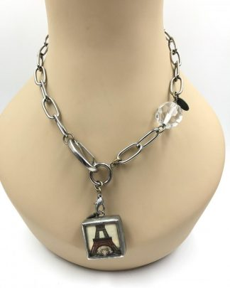 Jewel Kade Charm Necklace Eiffel Tower Fleur De Lis