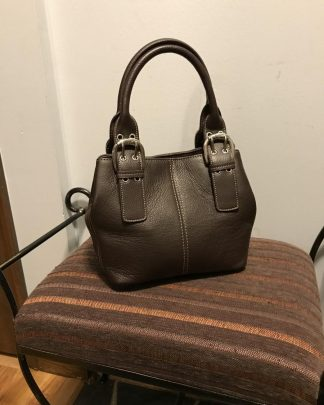 Tignanello Genuine Pebble Leather Medium Brown Purse Hand Bag