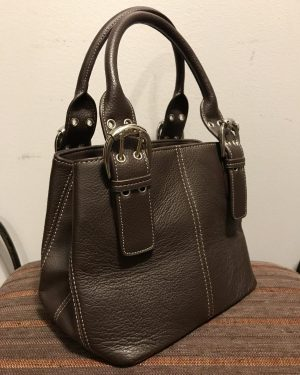 Tignanello Genuine Pebble Leather Medium Brown Purse Hand Bag – Like New – Clean