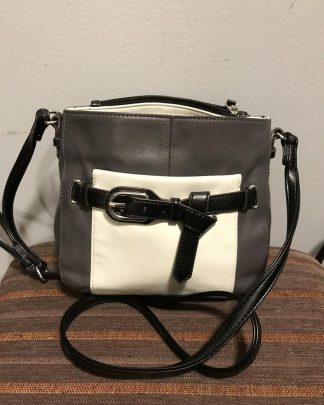 TIGNANELLO Pebble Leather Crossbody Shoulder Bag Purse Grey Black