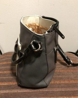 TIGNANELLO Pebble Leather Crossbody Shoulder Bag Purse Grey Black