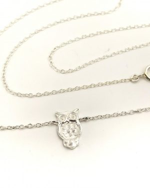 OWL NECKLACE – Sterling Silver Charm Necklace Hoot Bird Jewelry 15″ Signed 925