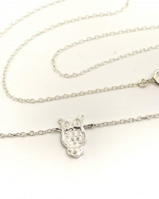 OWL NECKLACE - Sterling Silver Charm Necklace Hoot Bird Jewelry