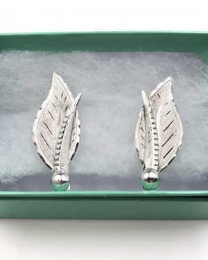 Vintage Retro Sterling Silver Screw Back Earrings Frosted Leaves Signed CC Sterling