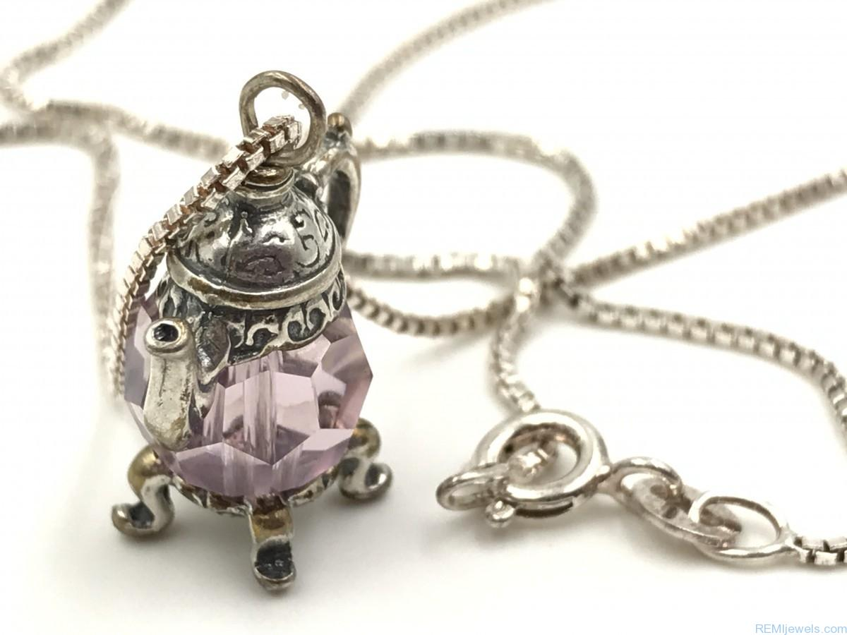Teapot Necklace Sterling Silver Crystal Teapot Tea