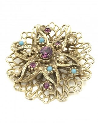 Vintage Purple Blue Rhinestone Star Filigree Pin Brooch Seed Pearls