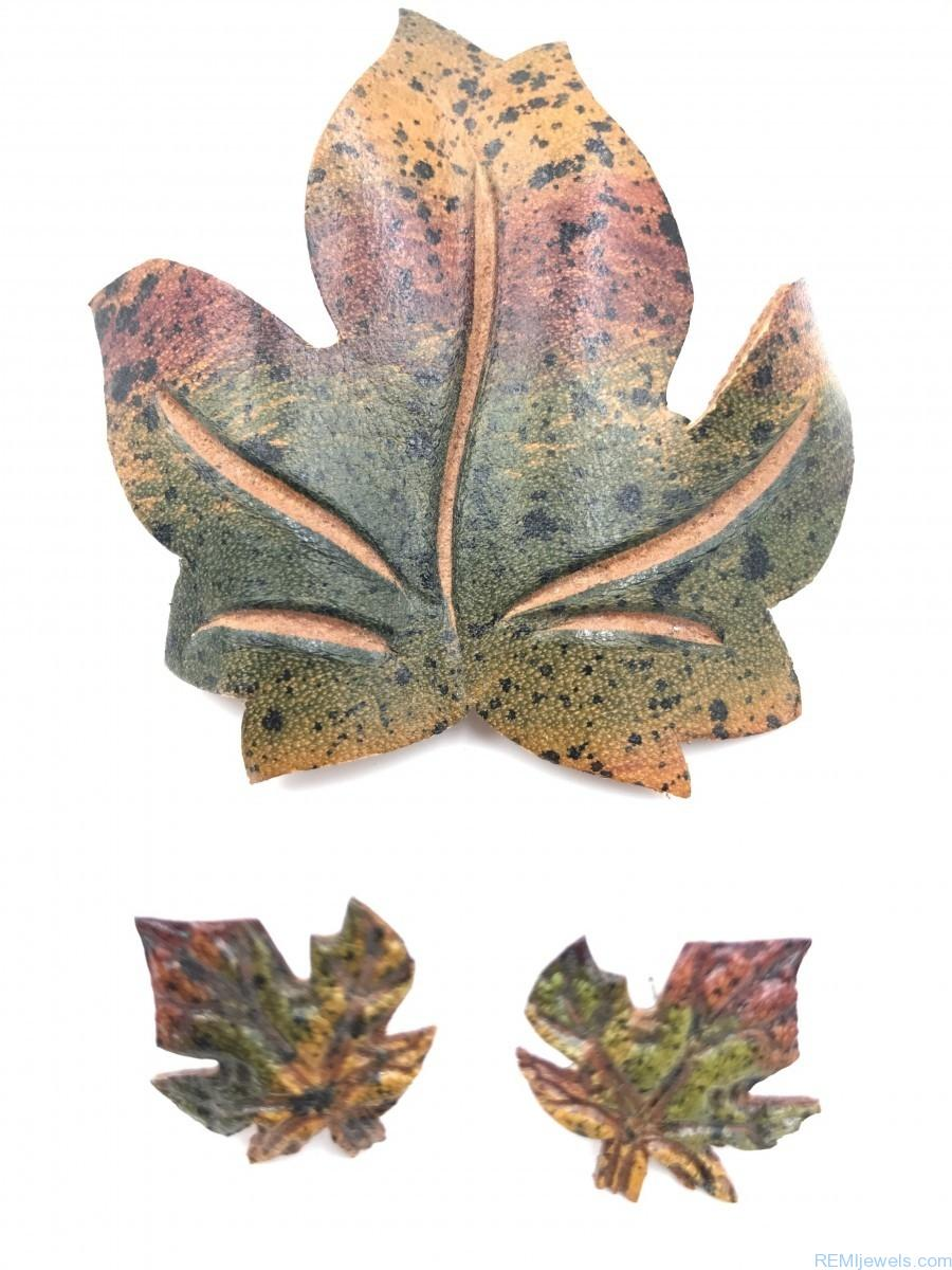 3a8159c56 Vintage Leather Autumn Maple Leaf Pin Brooch Earrings Fall Set