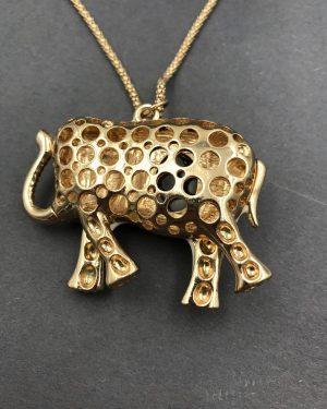 Jeweled White Black Gold Elephant Fashion Necklace – Good Luck Jewelry
