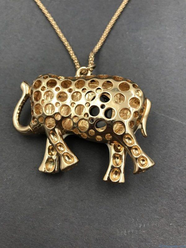 Jeweled White Black Gold Elephant Fashion Necklace - Good Luck Jewelry