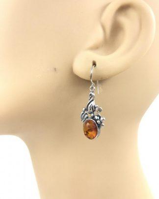 Designer Sterling Silver Amber Leaf Dangle Earrings