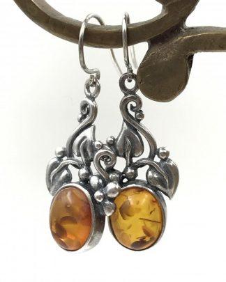 Vintage Designer Sterling Silver Amber Leaf Dangle Earrings