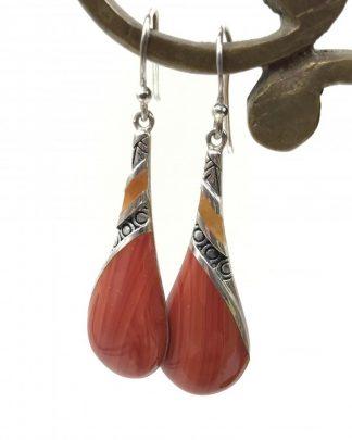 Designer Sterling Silver Red Orange Teardrop Dangle Earrings