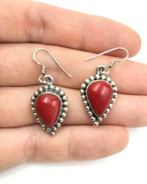 Vintage Sterling Silver Seed Bead Red Cabochon Dangle Earrings